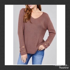 Sweaters - Sweater With Lace Up Sleeves